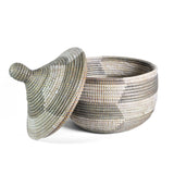 Fair Trade Hand Woven Prayer Mat Lidded Warming Basket, Silver/White - The Barrington Garage