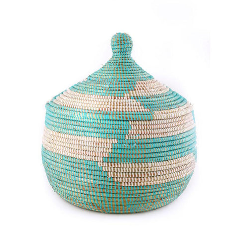 African Fair Trade Handwoven Lidded Warming Basket, Aqua/White