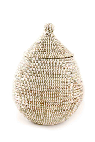 African Fair Trade Hand Woven Lidded Gourd Basket, White