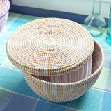 African Fair Trade Handwoven Small Lidded Box Basket