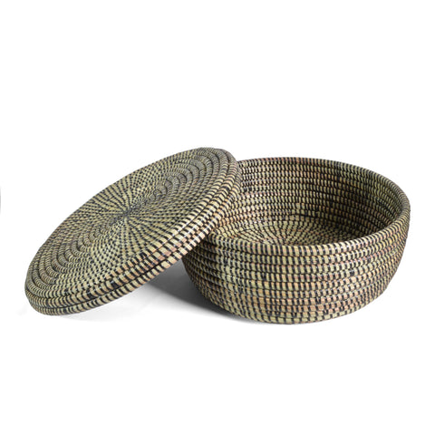 "Fair Trade Hand Woven 11"" Lidded Storage Basket, Black - The Barrington Garage"