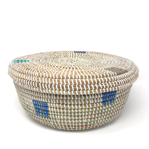African Fair Trade Handwoven Round Lidded Storage Basket, Prismatic Pixels