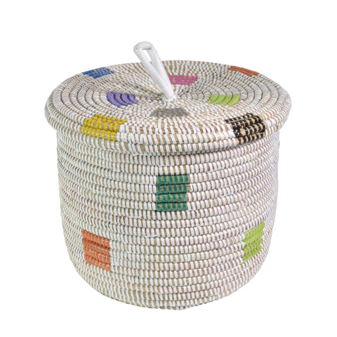 African Fair Trade Hand Woven Lidded Basket, Prismatic Pixels - The Barrington Garage