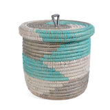 African Fair Trade Hand Woven Lidded Basket, Silver and Aqua