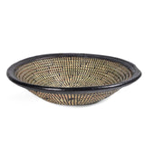 African Fair Trade Handwoven Leather Trimmed Round Basket