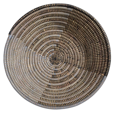 African Fair Trade Delta Handwoven Round Table Basket, Silver and Black
