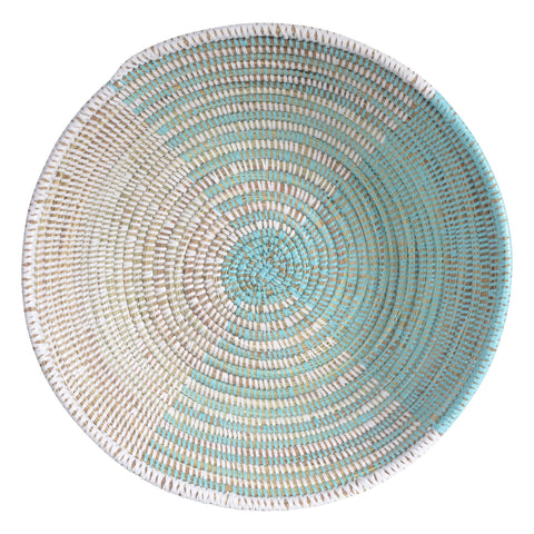 African Fair Trade Delta Handwoven Centerpiece Basket, Aqua/White