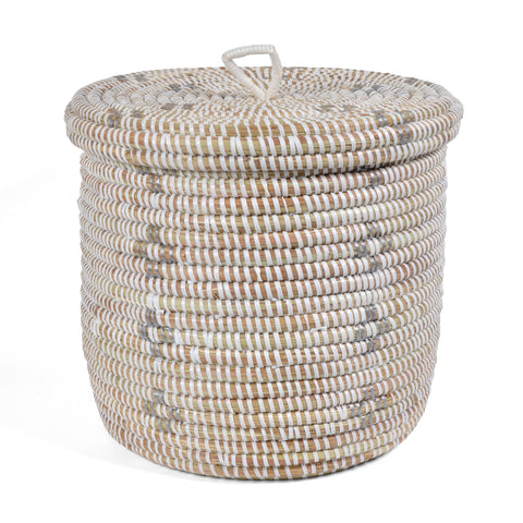 African Fair Trade Flowers Hand Woven Lidded Basket, White/Silver