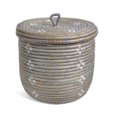 African Fair Trade Flowers Hand Woven Lidded Basket, Silver/White