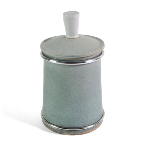 Dan Saultman Pottery Tea Jar with Stainless Steel Accents, Aqua - The Barrington Garage