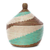 African Fair Trade Handwoven Warming Basket, Aqua, White, and Brown Spiral