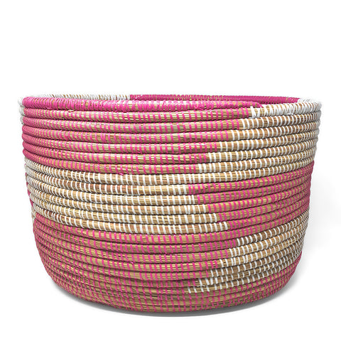 African Fair Trade Handwoven Oval Knitting Basket, Herringbone, Pink/White