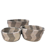 African Fair Trade Handwoven Zigzag Oval Nesting Baskets, Silver/White, Set of 3