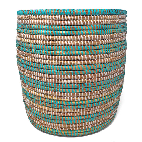 African Fair Trade 13-inch Handwoven Open Hamper Basket, Aqua/White