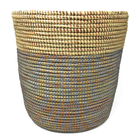African Fair Trade 13-inch Handwoven Open Hamper Basket, Silver/Cream