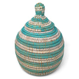 African Fair Trade Handwoven Gourd Basket, Aqua/White