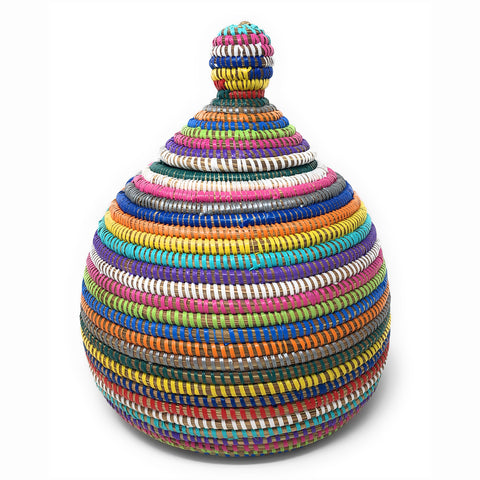 African Fair Trade Handwoven Gourd Basket, Rainbow Stripes