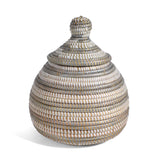 African Fair Trade Lidded Gourd Basket Silver White