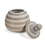 African Fair Trade Handwoven Lidded Gourd Basket, Silver/White
