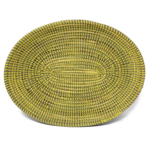 African Fair Trade Handwoven 15-inch Oval Prayer Mat Basket, Lemon Yellow