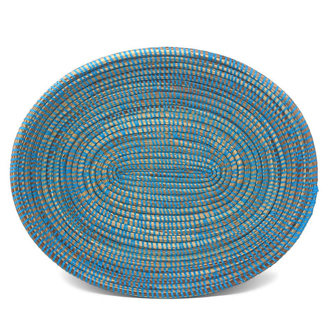 African Fair Trade Handwoven 15-inch Oval Prayer Mat Basket, Blue