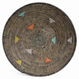 African Fair Trade 20-inch Round Grain Basket, Black with Multicolor Triangles