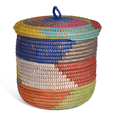 Fair Trade Chevron Pattern Small Basket with Lid, Handwoven in Senegal, Rainbow