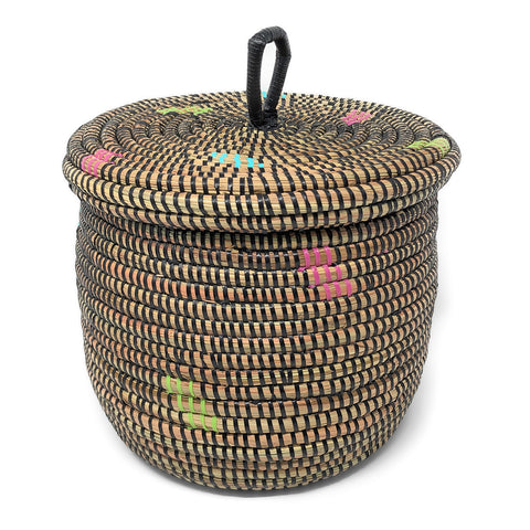 African Fair Trade Handwoven Small Lidded Basket, Black Confetti