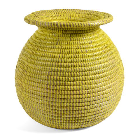 African Fair Trade Handwoven Vase Basket, Lemon