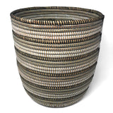African Fair Trade 13-inch Handwoven Open Hamper Basket, Black/Silver/White