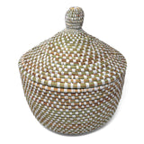African Fair Trade Handwoven Warming Basket, Checkered White