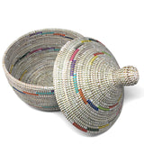 African Fair Trade Handwoven Warming Basket, White with Rainbow Spiral