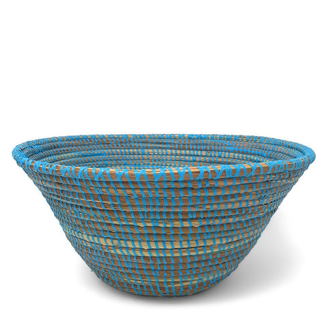 African Fair Trade Handwoven 12-inch Table Basket, Blue