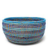 African Fair Trade Handwoven Oval Sewing Basket, Blueberry Parfait