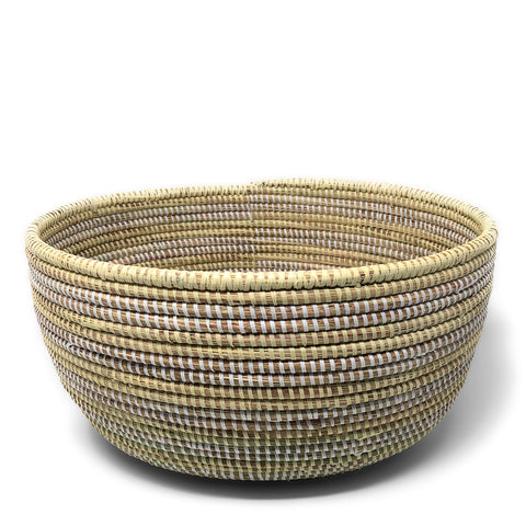 African Fair Trade Handwoven Oval Sewing Basket, Cream/White