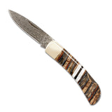 Santa Fe Stoneworks Woolly Mammoth Damascus 3-inch Lockback Pocket Knife - The Barrington Garage