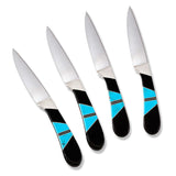 Santa Fe Stoneworks Jewelry Collection Steak Knives, Set of 4, Jet/Turquoise - The Barrington Garage