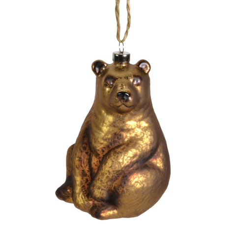 "Sage & Co. 4.5"" Glass Bear Ornament, Brown - The Barrington Garage"
