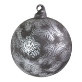 Sage & Co. Scroll Pattern Glass Ornament, Antique Pewter - The Barrington Garage