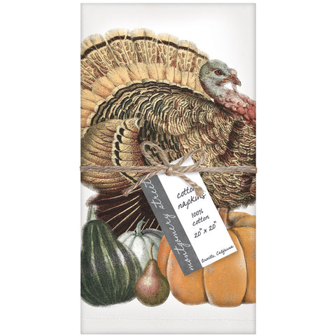 Montgomery Street Turkey with Pumpkin Cotton Napkin, Set of 4