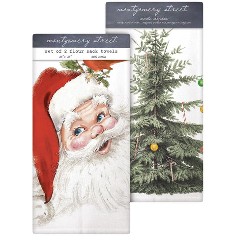 Montgomery Street Retro Santa and Merry Christmas Tree Cotton Flour Sack Dish Towels, Set of 2