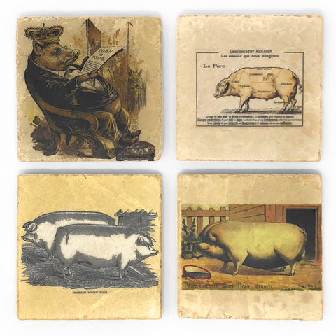 Studio Vertu Heirloom Pigs Marble Coasters, Set of 4