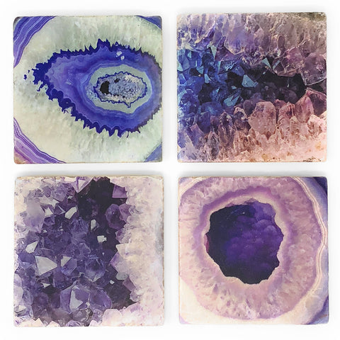 Studio Vertu Blue Geode Print Marble Coasters, Set of 4