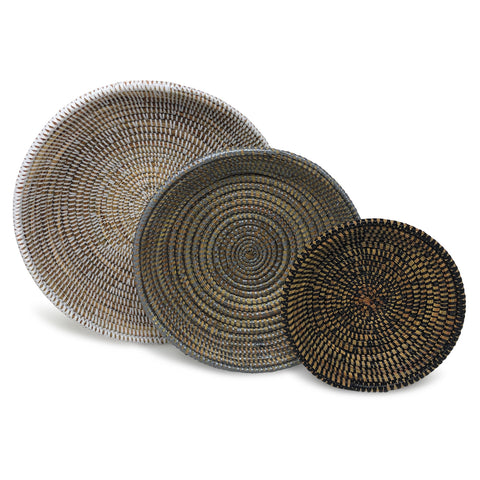 African Fair Trade Shallow Round Nesting Baskets, Set of 3, White/Gray/Black