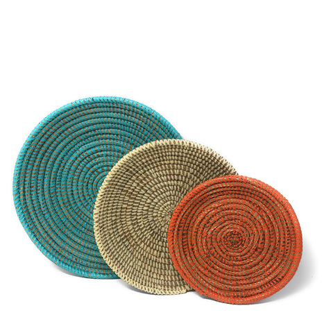 African Fair Trade Shallow Round Nesting Baskets, Set of 3, Turquoise/Ivory/Orange