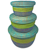 Senegalese Handwoven Lidded Baskets, Set of 3, Navy/Turquoise/Green