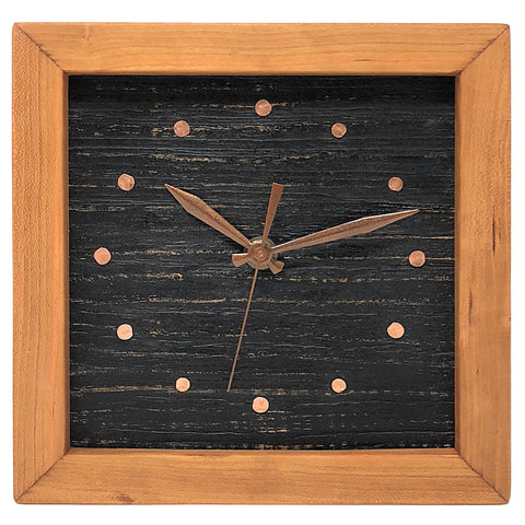 Sabbath-Day Woods Cherry Box Clock, Textured Black with Copper Face