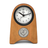 The Barrington Garage Handcrafted Cherry Wood Desk Clock with Pewter Heart Medallion