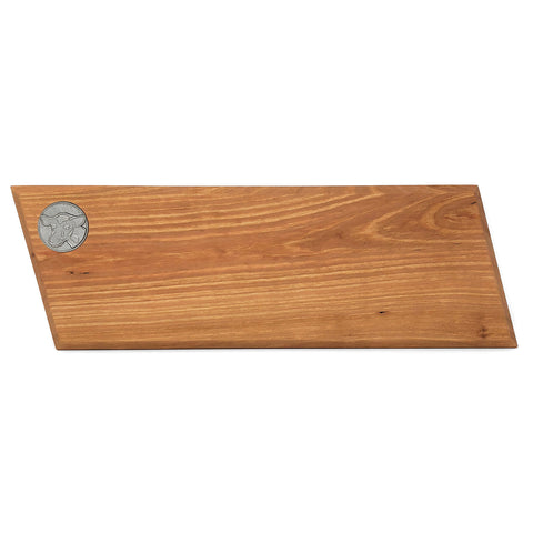 Handcrafted 16-inch Cherry Wood Baguette Cutting Board with Pewter Cow Medallion