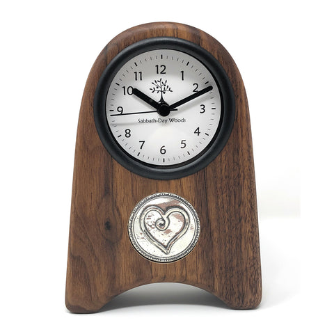 Shaker Style Walnut Wood Desk Clock with Pewter Heart Medallion - The Barrington Garage